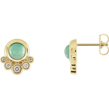 Giacobbe & Company 14k Yellow Gold 14K White, Yellow, or Rose Gold Chrysoprase & 1/8 CTW Diamond Earrings