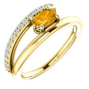 Giacobbe & Company 14k Yellow Gold 14K White, Yellow, or Rose Gold Citrine & 1/8 CTW Diamond Ring