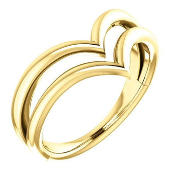 "Giacobbe & Company 14k Yellow Gold 14K White, Yellow, or Rose Gold Double ""V"" Ring"