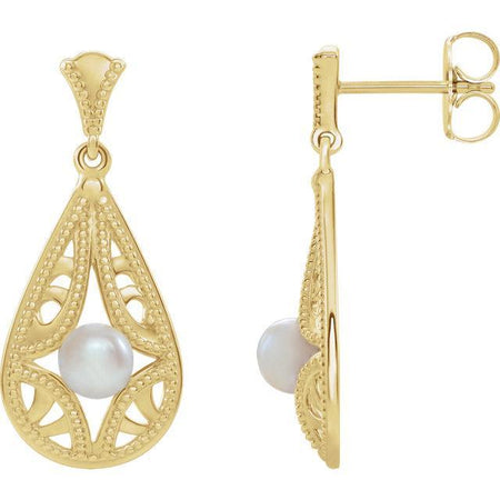Giacobbe & Company 14k Yellow Gold 14K White, Yellow, or Rose Gold Freshwater Cultured Pearl Vintage-Inspired Earrings