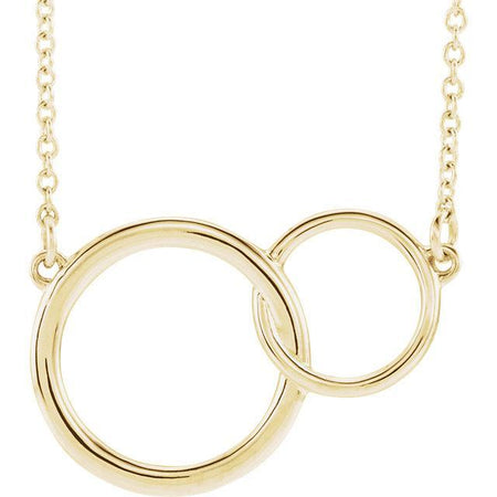 "Giacobbe & Company 14k Yellow Gold 14K White, Yellow, or Rose Gold Interlocking Circle 16""-18"" Necklace"