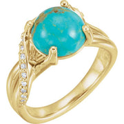 Giacobbe & Company 14k Yellow Gold 14K White, Yellow, or Rose Gold Kingman Turquoise & 1/6 CTW Diamond Ring