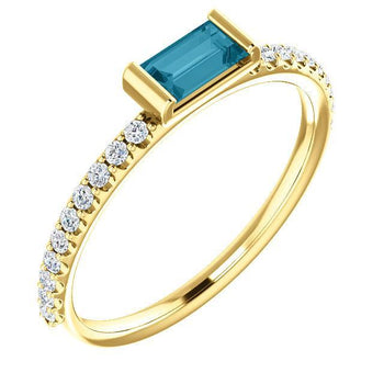 Giacobbe & Company 14k Yellow Gold 14K White, Yellow, or Rose Gold London Blue Topaz & 1/6 CTW Diamond Stackable Ring