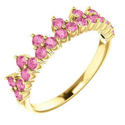 Giacobbe & Company 14k Yellow Gold 14K White, Yellow, or Rose Gold Pink Sapphire Crown Ring