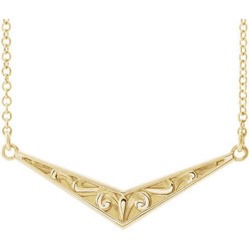 "Giacobbe & Company 14k Yellow Gold 14K White, Yellow, or Rose Gold Sculptural-Inspired ""V"" 16"" Necklace"