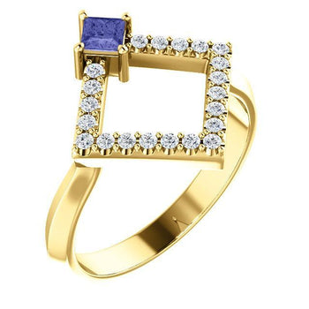 Giacobbe & Company 14k Yellow Gold 14K White, Yellow, or Rose Gold Tanzanite & 1/5 CTW Diamond Geometric Ring