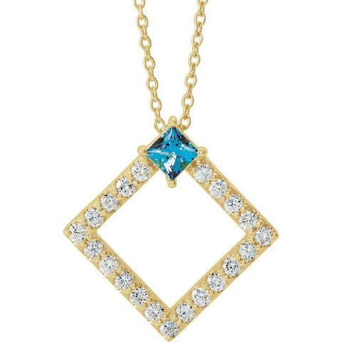 "Giacobbe & Company 14k Yellow Gold 14K White, Yellow, or Rose Gold Tanzanite & 3/8 CTW Diamond 16-18"" Necklace"