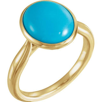 Giacobbe & Company 14k Yellow Gold 14K White, Yellow, or Rose Gold Turquoise Solitaire Bezel Set Ring