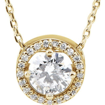Giacobbe & Company 14K YELLOW GOLD HALO DIAMOND NECKLACE