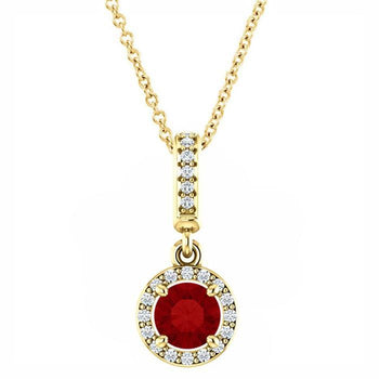 Giacobbe & Company 14K YELLOW GOLD RUBY AND DIAMOND PENDANT