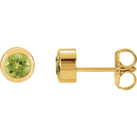 Giacobbe & Company 14K Yellow Peridot Bezel Stud Earrings