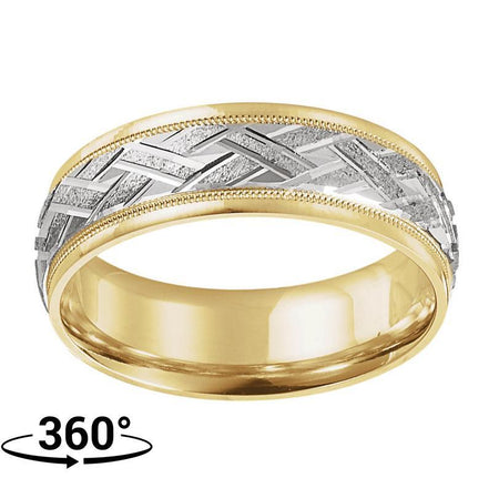 Giacobbe & Company 14K Yellow & White Gold 7mm Patterned Comfort-Fit Men's Ring