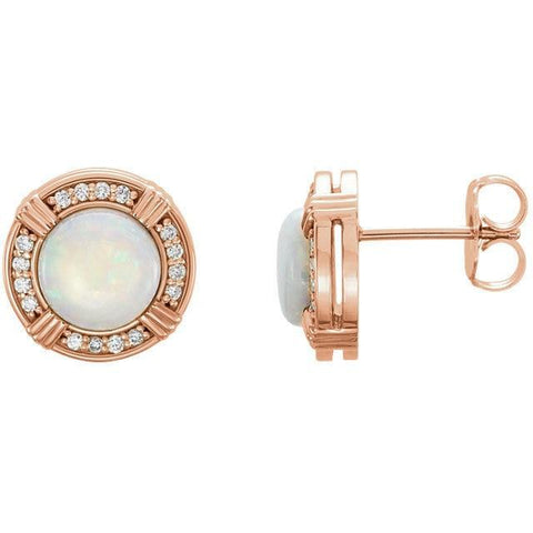 Giacobbe & Company 14kt Rose Gold Halo Opal & 1/6 CTW Diamond Earrings