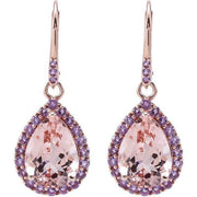 Giacobbe & Company 14kt Rose Gold Morganite & Amethyst Leverback Earrings