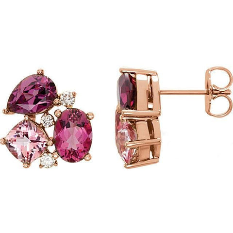 Giacobbe & Company 14kt Rose Gold Multi-Gemstone & 1/6 CTW Diamond Earrings