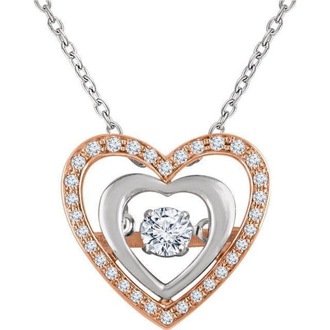 "Giacobbe & Company 14kt Rose & White 1/4 CTW Diamond Heart 18"" Mystara® Necklace"