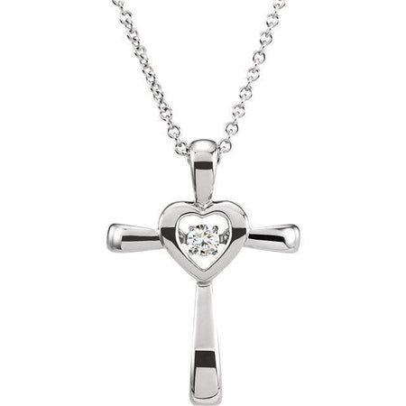 "Giacobbe & Company 14kt White .08 CTW Diamond Heart Cross 18"" Mystara® Necklace"