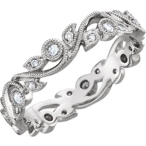 Giacobbe & Company 14kt White 1/4 CTW Floral Diamond Eternity Band