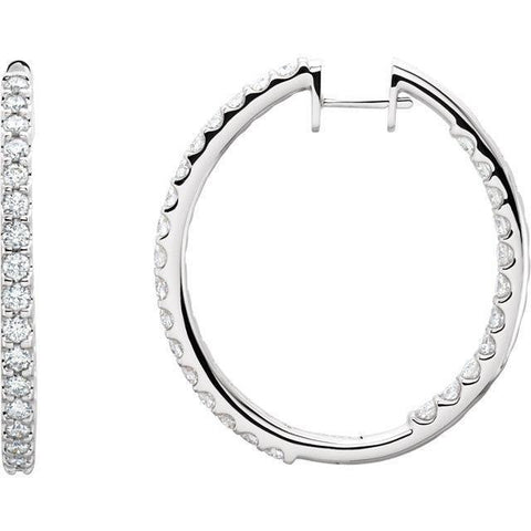 Giacobbe & Company 14kt White 1/4 CTW to 5 CTW Diamond Hinged Inside/Outside Hoop Earrings