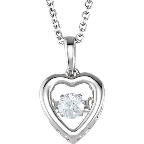 "Giacobbe & Company 14kt White 1/6 CT Diamond Heart 18"" Mystara® Necklace"
