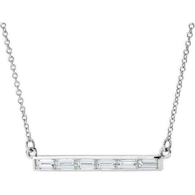 "Giacobbe & Company 14kt White 3/4 CTW Diamond Bar 17"" Necklace"