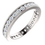 Giacobbe & Company 14kt White 9/10 CTW Diamond Milgrain Eternity Band