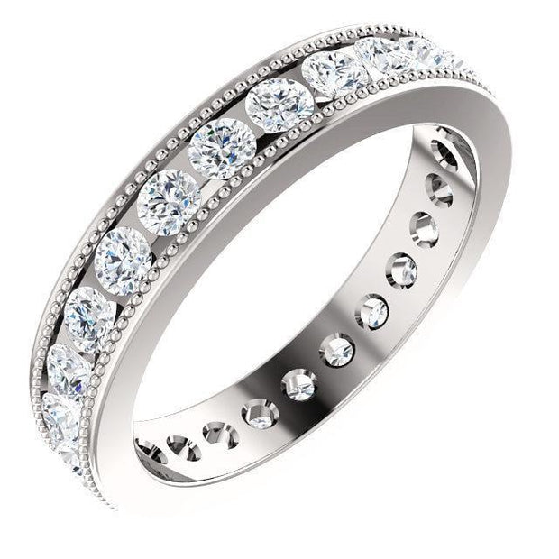 Giacobbe & Company 14kt White Gold 1-1/2 CTW Diamond Milgrain Eternity Band
