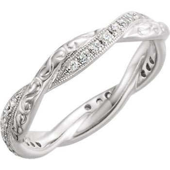 Giacobbe & Company 14kt White Gold 1/5CTW Diamond Engraved Eternity Band