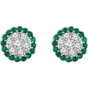 Giacobbe & Company 14kt White Gold Halo Emerald & 5/8 CTW Diamond Earrings