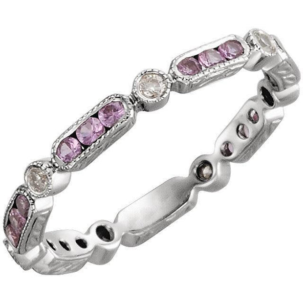 Giacobbe & Company 14kt White Gold Pink Sapphire & 1/10CTW Diamond Eternity Band
