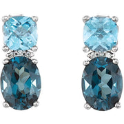 Giacobbe & Company 14kt White London Blue Topaz, Swiss Blue Topaz & .01 CTW Diamond Earrings