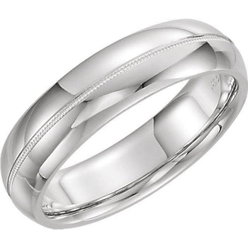 Giacobbe & Company 14kt White Or Yellow Gold 4-6mm Half Round Comfort Fit Milgrain Band