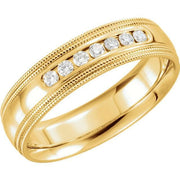 Giacobbe & Company 14kt White Or Yellow Gold 5-6mm 1/6 CTW Diamond Half Round Comfort Fit Double Milgrain Band