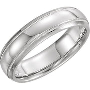 Giacobbe & Company 14kt White Or Yellow Gold 5-6mm Half Round Comfort Fit Milgrain Band