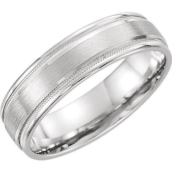 Giacobbe & Company 14kt White Or Yellow Gold Flat Edge Comfort Fit Milgrain Satin Finish Band