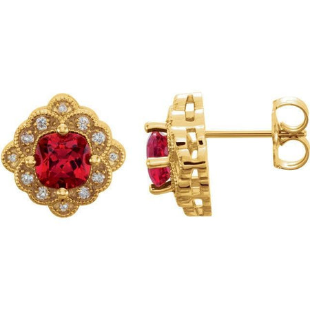 Giacobbe & Company 14kt Yellow Gold Ruby & Diamond Earrings