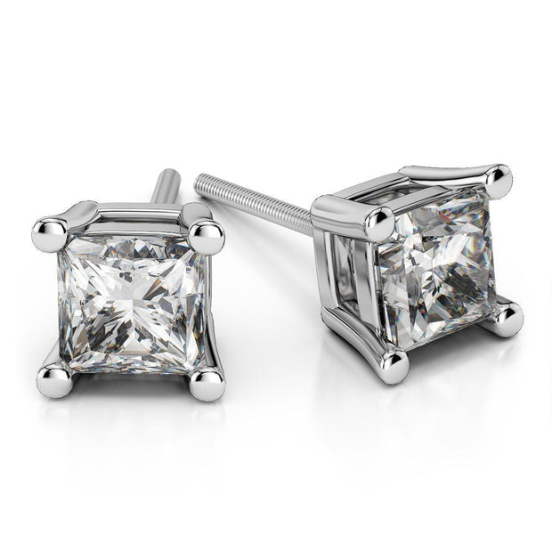 Giacobbe & Company 18K WHITE GOLD 1.50 CTW PRINCESS CUT VS2-SI1 G-H SCREW-BACK DIAMOND STUD EARRINGS