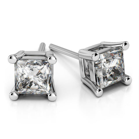 Giacobbe & Company 18K WHITE GOLD 2.00 CTW PRINCESS CUT VS2-SI1 G-H SCREW-BACK DIAMOND STUD EARRINGS
