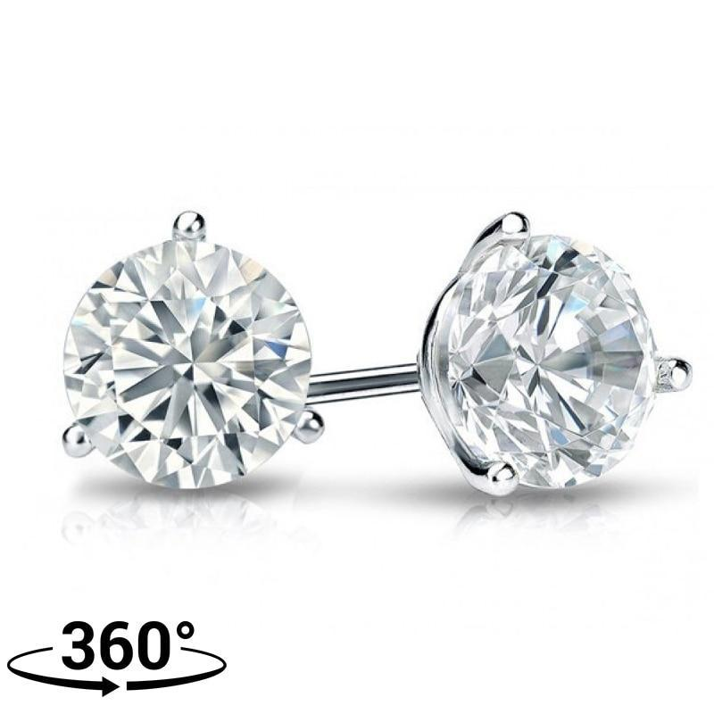 front stud white gold halo earrings square diamond