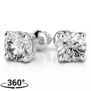Giacobbe & Company 18K WHITE GOLD ROUND 1/2CTW VS2-SI1 G-H SCREW-BACK DIAMOND STUD EARRINGS