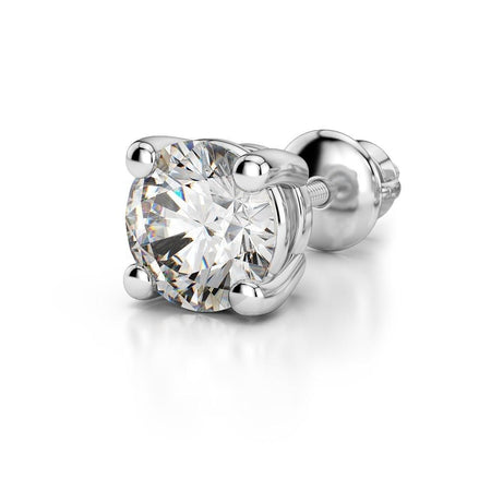 Giacobbe & Company 18K WHITE GOLD ROUND 1/4CT  SINGLE STUD VS2-SI1 G-H SCREW-BACK DIAMOND STUD EARRING