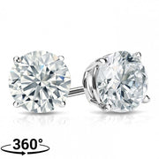 Giacobbe & Company 18K WHITE GOLD ROUND 1CTW VS2-SI1 G-H BASKET DIAMOND STUD EARRINGS