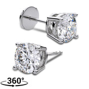 Giacobbe & Company 18K WHITE GOLD ROUND 1CTW VS2-SI1 G-H FOUR-PRONG LOCKING-BACK DIAMOND STUD EARRINGS