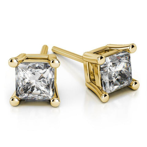 Giacobbe & Company 18K YELLOW GOLD 1 CTW PRINCESS CUT VS2-SI1 G-H SCREW-BACK DIAMOND STUD EARRINGS