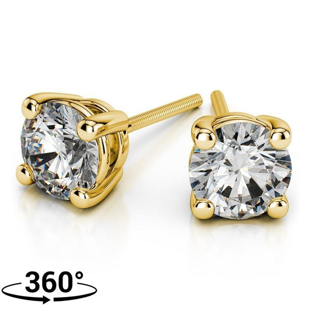 Giacobbe & Company 18K YELLOW GOLD ROUND 1 CTW VS2-SI1 G-H SCREW-BACK DIAMOND STUD EARRINGS