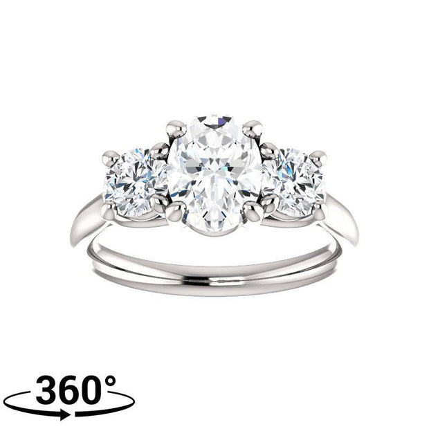 Giacobbe U0026 Company 2 Carat Oval 3 Stone Engagement Ring With Round Accents  In 14K White