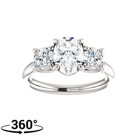 Giacobbe & Company 2 Carat Oval 3 Stone Engagement Ring With Round Accents in 14K White Gold