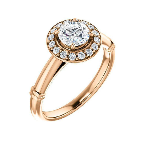 Giacobbe & Company 3 / 14K Rose Gold .80 Carat Round Halo-Stlye Engagement Ring in 14K Rose Gold
