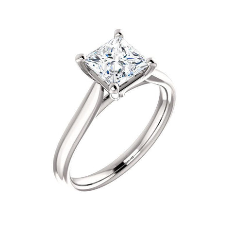 Giacobbe & Company 3 / 14K White Gold 1-1/4 Carat Princess Cathedral-Style Engagement Ring in 14K White Gold