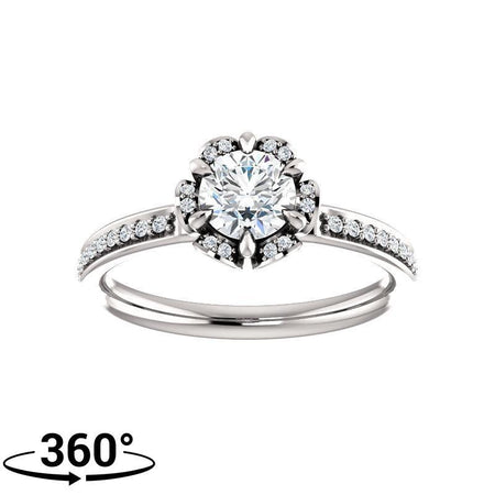 Giacobbe & Company 3/4 Carat Round Cut Floral-Inspired Halo-Style Engagement Ring in 14K White Gold